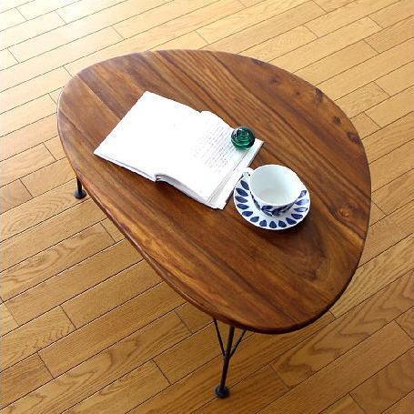 ローテーブル 天然木 木製 無垢材 アイアン おしゃれ リビングテーブル シーシャムオーバルローテーブル 【送料無料】 [kan4286]