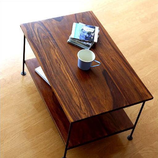 ローテーブル 木製 アイアン 天然木 コンパクト おしゃれ 棚付き シーシャムウッド二段棚 【送料無料】 [kan4435]