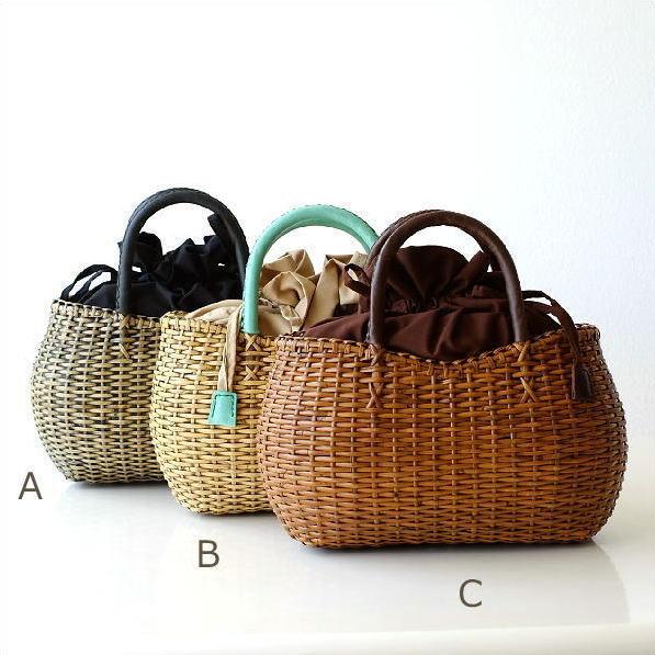 ラタンシンプル編みバッグ3カラー