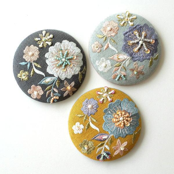 ビーズ刺繍ミニミラー 3カラー [kan4785]