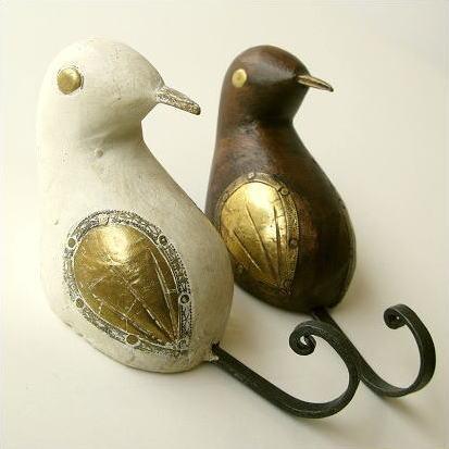フック 壁 壁掛けフック ウォールフック キーフック 鍵掛け 鍵かけ 鳥 雑貨 アンティーク レトロ かわいい おしゃれ 帽子掛け ハンガー ウッドバードのフック