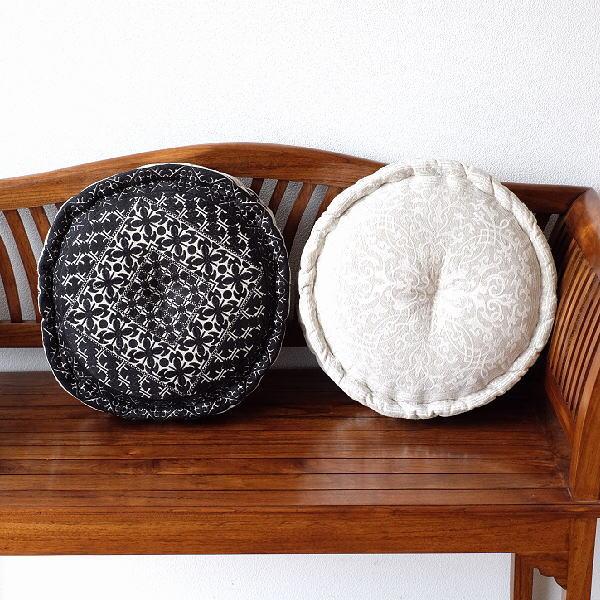 フロアクッション 丸 クッション おしゃれ 刺繍 かわいい 可愛い 円形 丸形 座布団 刺繍フロアークッションA 2タイプ [kan4829]