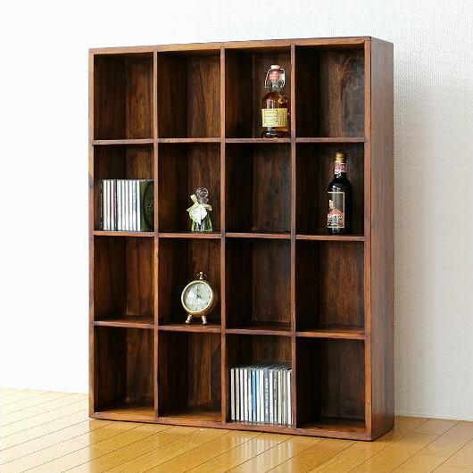 ディスプレイラック 格子ラック 仕切り 木製 天然木 DVDラック シーシャムウッドフリー棚16 【送料無料】 [kan4855]
