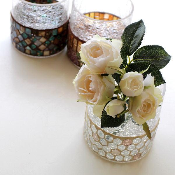 花瓶 ガラス フラワーベース おしゃれ 丸 円柱 円筒 かわいい 可愛い キャンドルホルダー モザイクガラスベース3カラー [kan4933]
