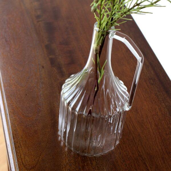 花瓶 花びん おしゃれ ガラス 一輪挿し フラワーベース 花器 ハンドル付きガラスベース S [kan4981]