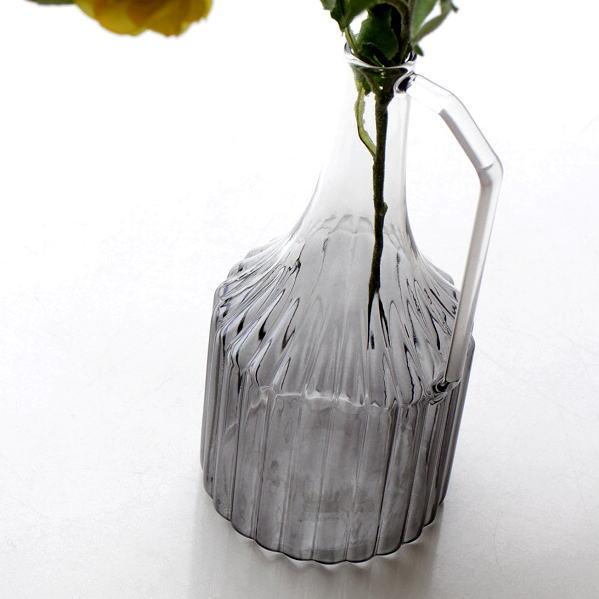 花瓶 花びん おしゃれ ガラス 一輪挿し フラワーベース 花器 ハンドル付きガラスベース L [kan4982]