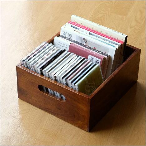 収納ボックス 小物入れ 木製 天然木 無垢 取っ手付き アジアン ナチュラル おしゃれ 木目 整理ボックス CDラック シーシャムウッドシンプルボックスL