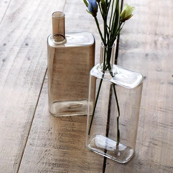 一輪挿し おしゃれ ガラス 花瓶 フラワーベース 花器 シンプルガラスベース レクタングル2カラー [kan5254]