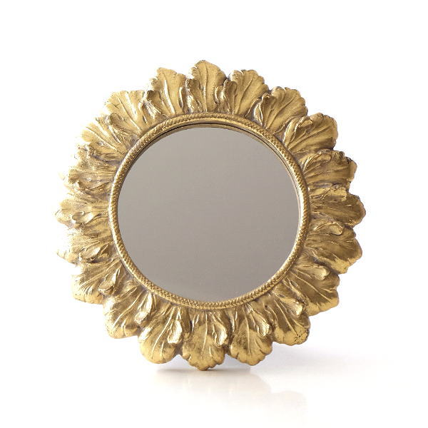 ミラー 壁掛け 卓上 鏡 小さい ミニ 丸 おしゃれ アンティーク ゴールド ウォールミラー ひまわり 向日葵 丸い 丸型 円形 サークル サンフラワーゴールドミラー [kan5338]