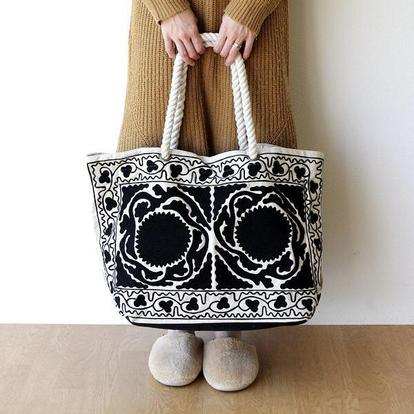 ロープハンドル刺繍バッグ WH [kan5382]