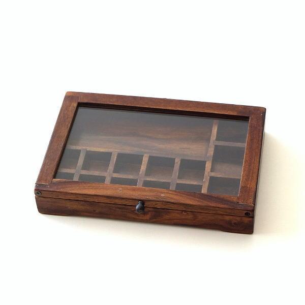 ショーケース 木製 ディスプレイケース コレクションケース 卓上 ガラスケース アクセサリーケース 天然木 無垢 シーシャムウッドの仕切付ショーケース [kan5402]