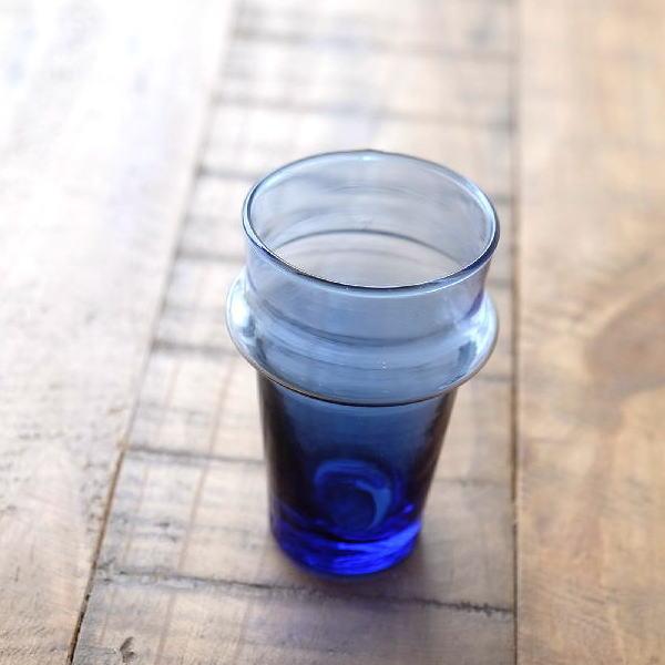 グラス おしゃれ アンティーク ガラスコップ モロッコチャイグラス Sブルー [kan5445]