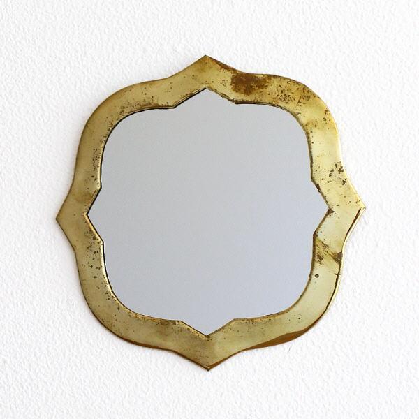 鏡 壁掛けミラー 真鍮 アンティーク レトロ ゴールド ウォールミラー 真鍮の壁掛けミラー ウェーブ [kan5461]
