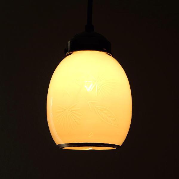 ペンダントライト ガラス おしゃれ ホワイト アンティーク 卵型 レトロ 吊り下げランプ 天井照明 ガラスのペンダントライト ベルA [kan5608]