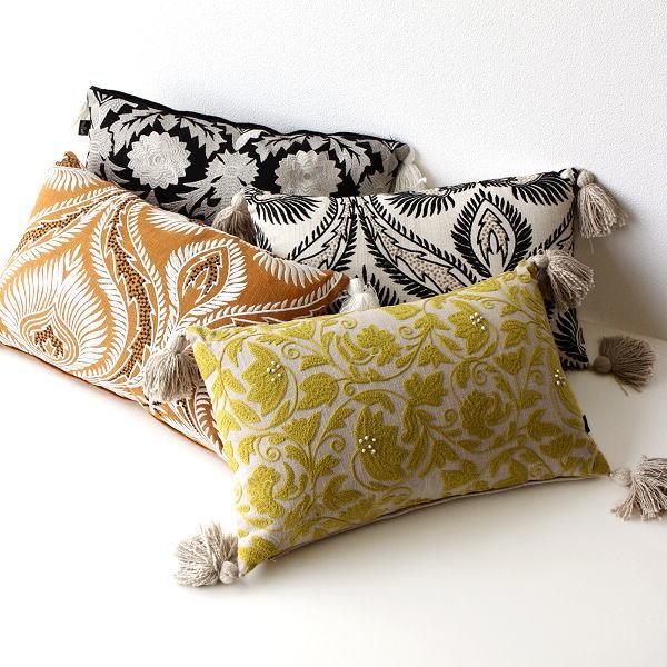 クッション 30×50cm 長方形 おしゃれ 刺繍 綿100% タッセル ファスナー付き 刺繍レクタングルクッション 4タイプ [kan5926]