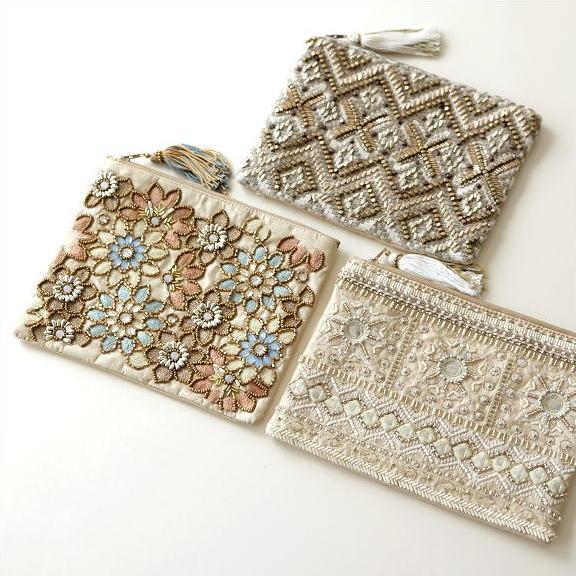 ビーズ刺繍フラットポーチ 3タイプ [kan5978]