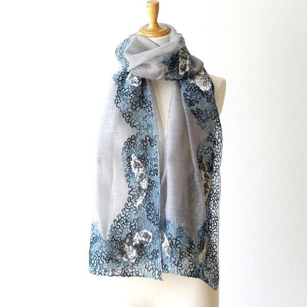 ウールシルクギザギザ手刺繍ショール [kan6188]