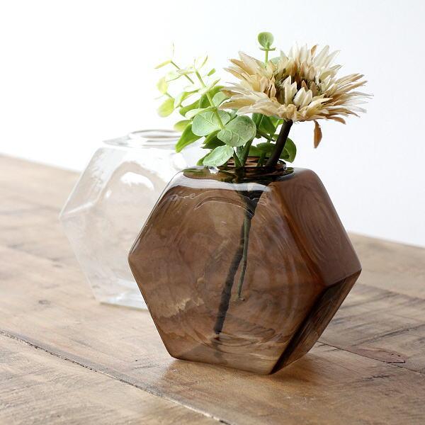 一輪挿し おしゃれ ガラス 花瓶 フラワーベース 花器 シンプルガラスベース 六角2カラー [kan6224]