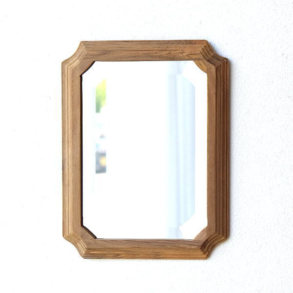 鏡 壁掛けミラー ウォールミラー おしゃれ 木製 チーク 天然木 木枠 シンプル 玄関 トイレ 洗面 ナチュラルウッドのミラーフレーム M [kan6270]