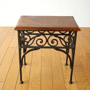 サイドテーブル 木製 アイアン おしゃれ 天然木 無垢材 鉄脚 アイアンとシーシャムのネストテーブルS [kan6301]