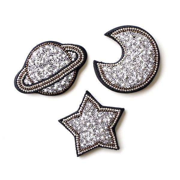 手鏡 おしゃれ ハンドミラー コンパクトミラー 小さい ビーズ刺繍 ミニ 大人 小物 ビーズ刺繍ハンドミラー 宇宙3タイプ [kan6337]