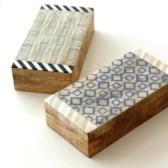 小物入れ ふた付き 宝箱 木製 アンティーク 収納ボックス レトロ ナチュラル おしゃれ 自然素材 卓上 アクセサリーケース ボーンとウッドのボックス 2タイプ