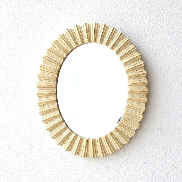 鏡 壁掛けミラー おしゃれ 丸 楕円形 オーバル ウォールミラー モダン デザイン アイボリーオーバルミラー [kan6390]