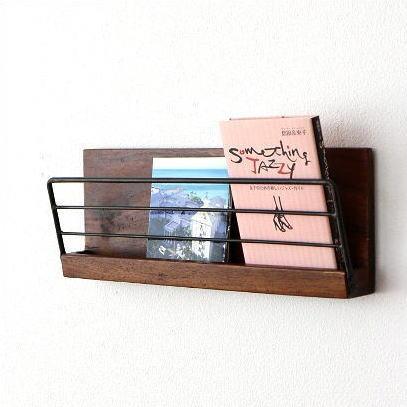 壁掛け 棚 ウォールラック 木製 アイアン ウォールシェルフ マガジンラック アイアンとウッドの壁掛けラック M