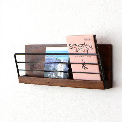 ウォールラック 木製 アイアン おしゃれ ディスプレイ棚 飾り棚 スリム アイアンとウッドの壁掛けラックM [kan6486]