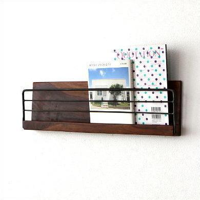 ウォールラック 木製 アイアン おしゃれ ディスプレイ棚 飾り棚 スリム アイアンとウッドの壁掛けラックL [kan6487]