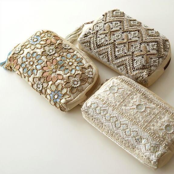 ビーズ刺繍ポーチ 3タイプ [kan6670]
