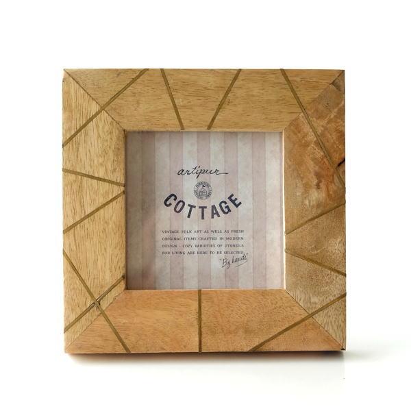 フォトフレーム おしゃれ 木製 正方形 天然木 写真立て 卓上 壁掛け ナチュラル モダン マンゴー&ブラスフォトフレームS [kan6845]