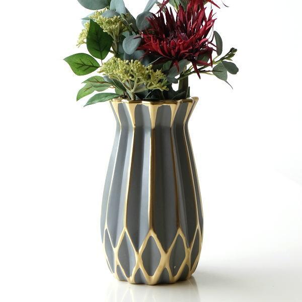 花瓶 フラワーベース おしゃれ 陶磁器 モダン セラミックベース [kan6868]