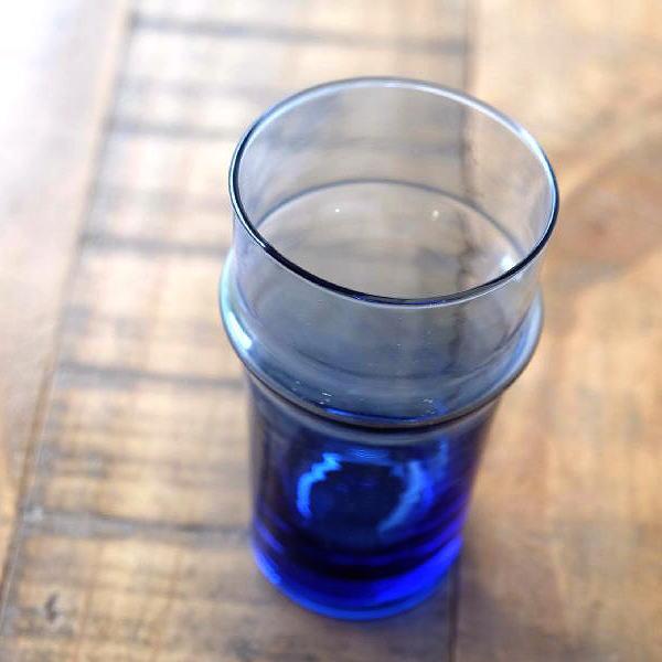 グラス おしゃれ アンティーク ガラスコップ モロッコチャイグラス Lブルー [kan6970]