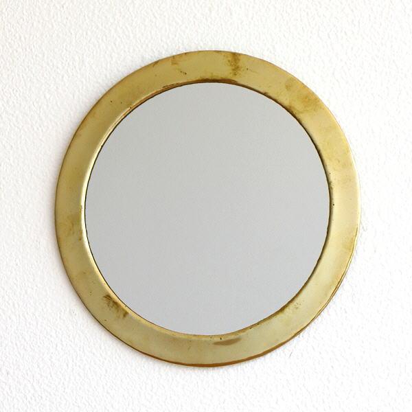 鏡 壁掛けミラー 真鍮 アンティーク レトロ ゴールド ウォールミラー 真鍮の壁掛けミラー ラウンド [kan6985]