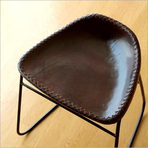 スツール アンティーク おしゃれ 椅子 いす イス チェア チェアー アイアンと本革のスツールB【送料無料】
