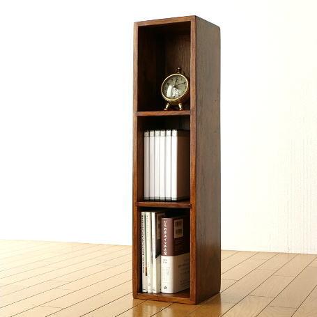 DVDラック 木製 おしゃれ スリム 無垢材 天然木 仕切り 卓上収納 机上ラック インドのウッドDVDラック [kan7138]
