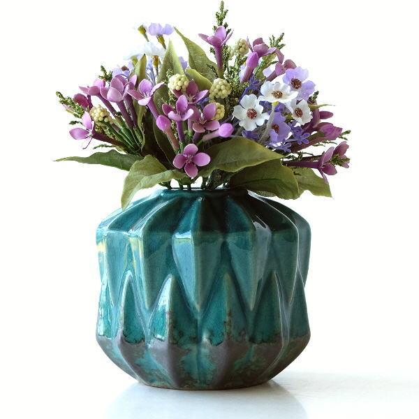 花瓶 おしゃれ 陶器 アンティーク レトロ 花器 フラワーベース セラミックベース ブルーグリーン [kan7298]