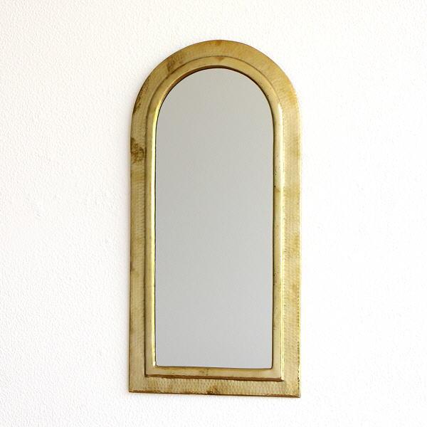 鏡 壁掛けミラー 真鍮 アンティーク レトロ ゴールド ウォールミラー 真鍮の壁掛けミラー アーチ 【送料無料】 [kan7648]