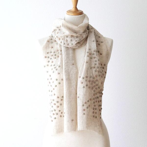ウールコットンドット刺繍ミニショール [kan7883]