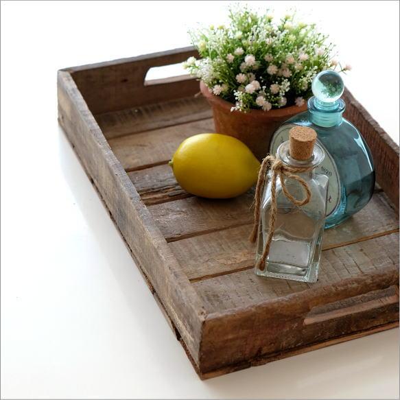 トレイ トレー アンティーク レトロ 木製 シャビーシック 古風 古材 古木 木 小物入れ おしゃれ デスクトレー A4 お盆 プレートアーミーウッドボックストレイ
