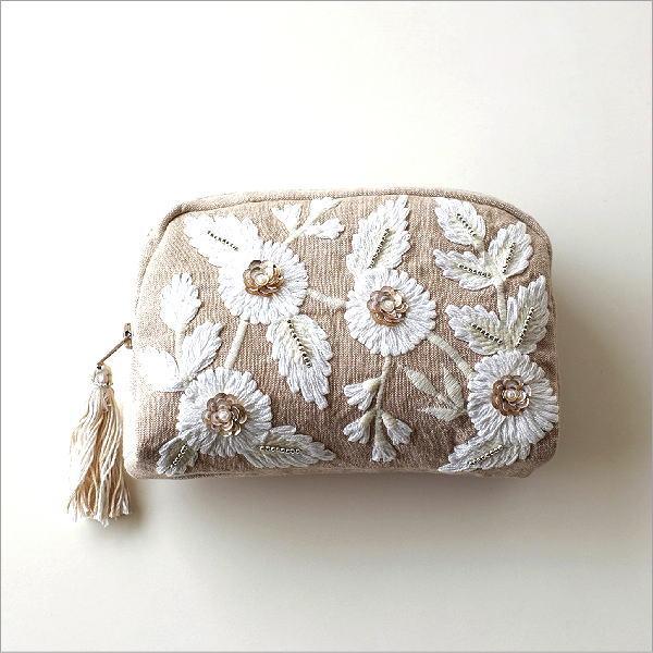 ビーズ刺繍のフラワーポーチ [kan8098]