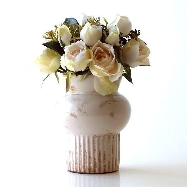 花瓶 おしゃれ 陶器 アンティーク レトロ 花器 フラワーベース セラミックベース ホワイト [kan8280]