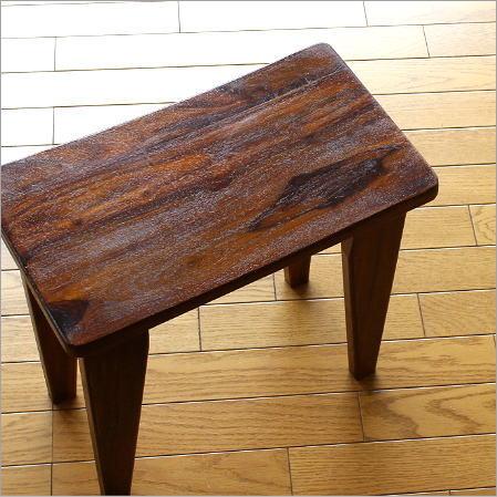 スツール 木製 天然木 無垢材 いす アジアン家具 シーシャムウッドスツール スクエア【送料無料】