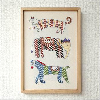 オブジェ ウォールデコレーション 壁飾り ノクシカタ刺繍フレーム A