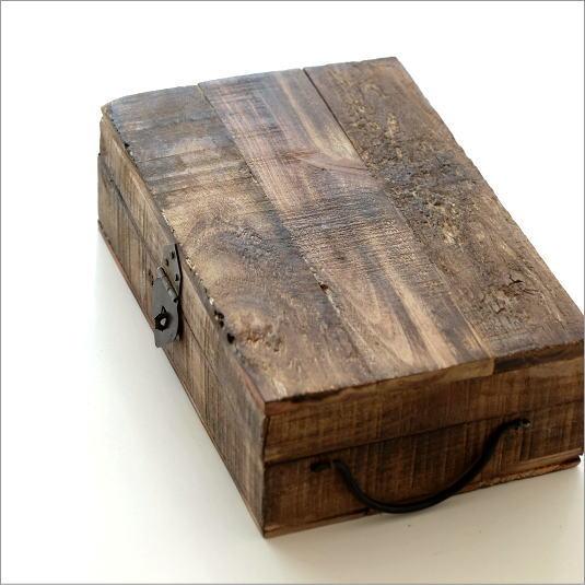 小物入れ ボックス ふた付き アンティーク 木製 レトロ シャビーシック ウッド 宝箱 コレクションボックス 木箱 おしゃれ 古木 アーミーウッドボックス