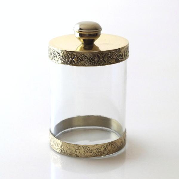 キャニスター ガラス おしゃれ アンティーク 小物入れ ふた付き クリア ゴールド ガラスキャニスター ストレート [kan8580]