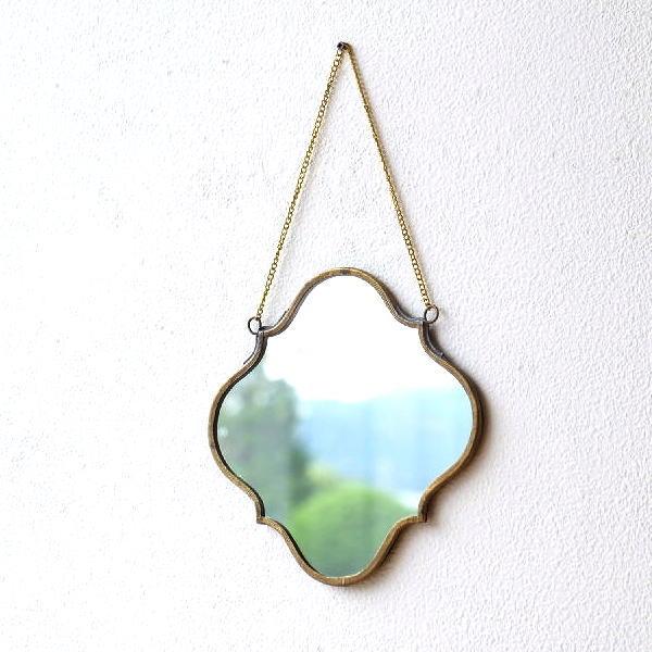 鏡 壁掛けミラー ウォールミラー おしゃれ 真鍮 アンティーク ゴールド ブラスハンギングミラー ウェーブ [kan8785]