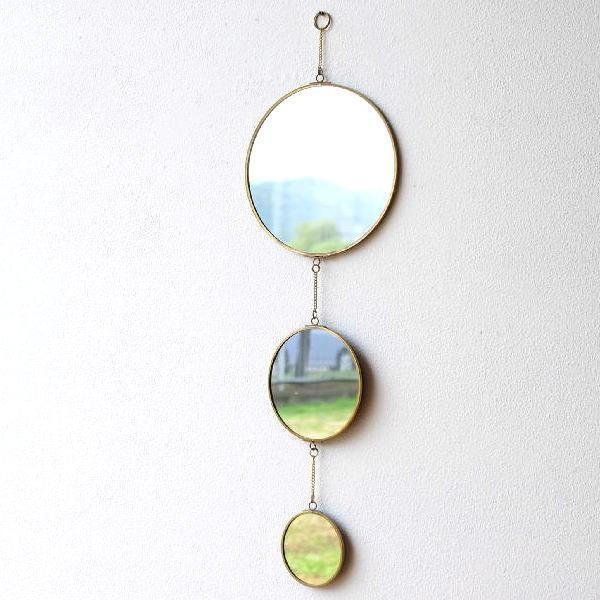 鏡 壁掛けミラー ウォールミラー おしゃれ 真鍮 丸 壁飾り ウォールデコ アンティーク ゴールド ブラスフレームミラー 3連 [kan8821]