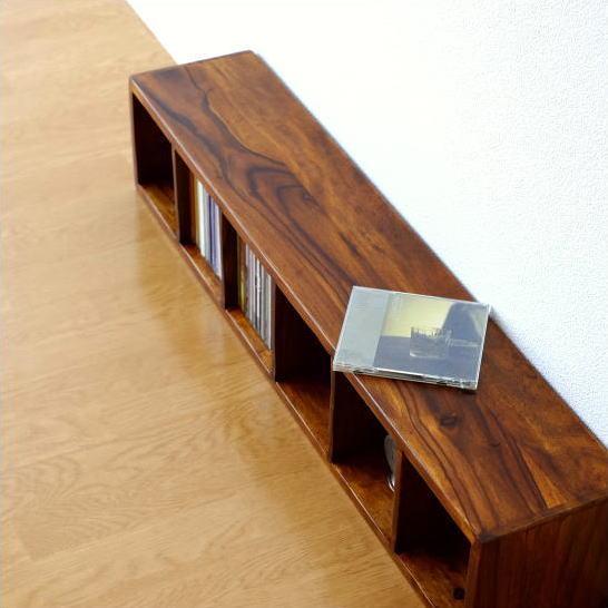 CDラック 木製 おしゃれ スリム 無垢材 天然木 仕切り 卓上収納 机上ラック インドのウッドCDラック [kan8822]